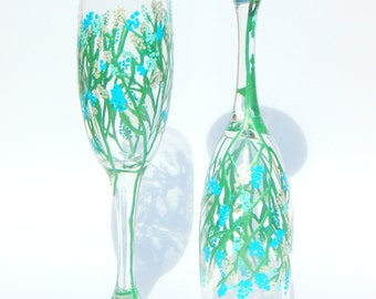 Blue Floral Hand Painted Champagne Glass
