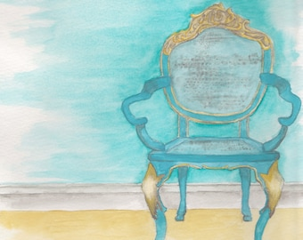Turquoise Chair watercolor