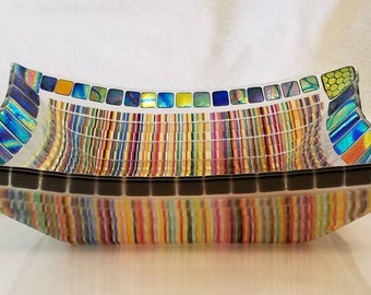 Glass Bowl fused stringers with Dichroic Glass accent