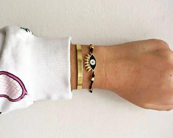 Gold Layered Bracelets • Cuff Bracelet • Black Eye Bracelet • Eyelashes evil eye • Gold Plated Bangle • Handmade Stacked Bracelets