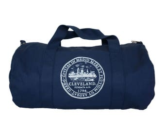 Navy Blue Duffel Bag with Cleveland 'City Seal' in White Ink