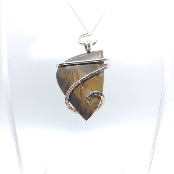 Picture Jasper Pendant | Owyhee Picture Jasper Pendant | Sterling Silver |  Picture Jasper Necklace | Oregon Picture Jasper Jewelry