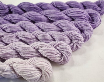 Mini Skein Yarn Fingering or DK Gradient Ombre  - Lilac Gradient - 600 yards