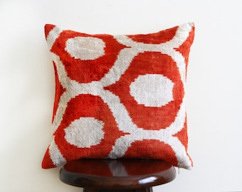 "Kilyos Handwoven Ikat/Velvet Cushion 16"" Square - Free shipping USA!"
