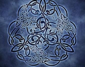 Mystic Raven Celtic Raven Triskele Knotwork-  Pagan Wiccan Print - Brigid Ashwood