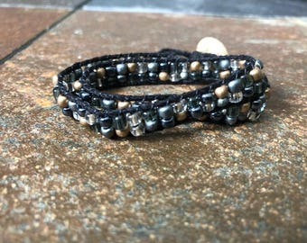 Black, silver and gold double wrap hemp bracelet, Hemp Wrap Bracelet, Beaded Wrap Bracelet, Double Wrap Bracelet, Wrap Bracelet, Bracelet