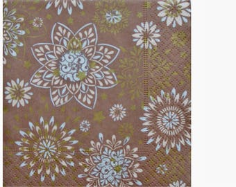Set of 3 paper towels HOD101 flowers on Brown background