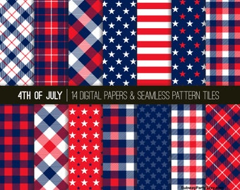"""4th of July Patriotic Red White Blue Stars and Stripes Tartan Seamless Patterns and Digital Papers 12""""x12"""" & 8""""x11"""" JPGs. INSTANT DOWNLOAD"""