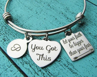You got this bracelet, inspirational gift, survivor jewelry, addiction recovery gift, let your faith be bigger than your fear, sobriety gift