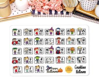 Halloween Countdown Planner Stickers, Halloween Stickers for Erin Condren Life Planner, Happy Planner, and more!