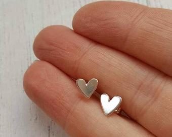 Mini Heart Studs - Silver Heart Studs - Heart Earrings - Sterling Silver - Bridal Earrings - Wedding Jewellery - Bridesmaid Jewellery-Hearts