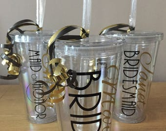 Personalised Wedding Name Plastic Cup~Personalised Tumbler with Lid and Straw ~Perfect for a Gift~Bridal Party~Wedding Favor~Bride~Hen Do
