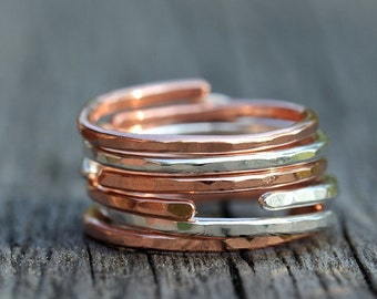 Adjustable copper and silver stacking ring set, five ring set, midi rings, stackable rings, copper ring, sterling silver ring