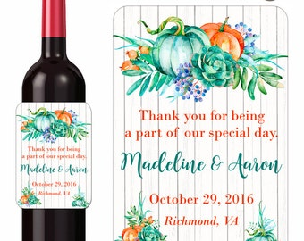 Rustic Autumn Wedding Wine Labels Pumpkins and Eucaltyptus Custom Personalized Beverage Label Waterproof Vinyl 3.5 x 5 Inch
