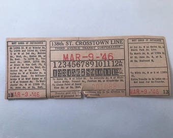 1946 New York Transit Ticket / March 9, 1946 / 138th St. Crosstown