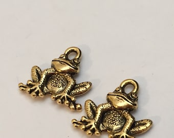 2 pc gold jumping frog charm, animal charm, jewelry supplies