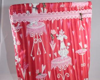 Handmade, Fabric, Lacey Zipper, Poodle Zipper Pouch