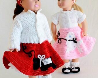 "18"" Doll At The Hop Crochet Pattern PDF - PB079"