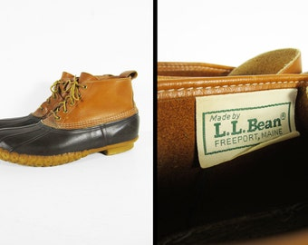 Vintage LL Bean Duck Boots Maine Hunting Shoe Leather Ankle Bean Boots - Size 12
