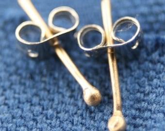 10kt, 14kt or 18kt Yellow, White or Rose Gold Dot Earrings