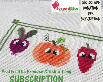 Fruit and Vegetable Cross Stitch Pattern PDF | Pretty Little Produce Stitch-a-Long Subscription and Release #1 | Easy | Modern | Beginners