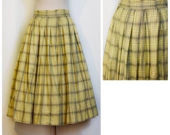 1950s Yellow Plaid Skirt