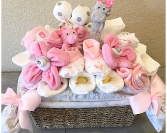 Baby shower gift basket etsy baby shower gift basket fo girl pink and gray elephant and giraffe new granddaughter negle Images