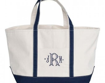 Navy Canvas Zipper Tote Bag -  Monogrammed - LARGE Personalized Canvas Tote Bag