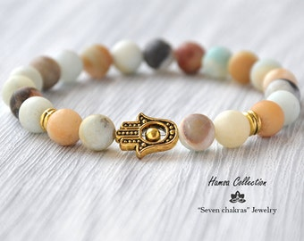 Hamsa bracelet 8mm Matte amazonite Hamsa Jewelry Yoga bracelet Mala bracelet Beads bracelet Gemstone bracelet Mala Prayer Beads