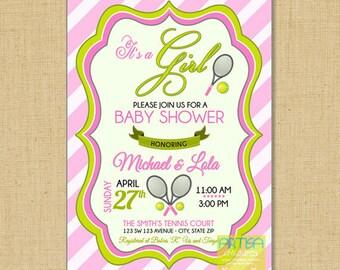 Tennis Baby Shower Invitation, Tennis Baby Girl Shower Invitation, Its a  Girl Baby Shower Invitation, Tennis Baby Shower Invitation DIY