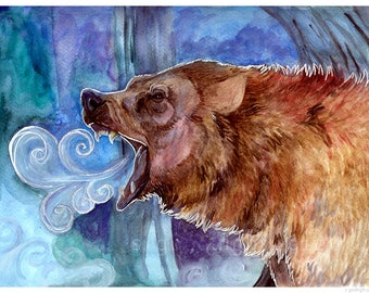 "Mother Ursus 8.5x11"" Matted Signed Grizzly Bear Watercolor Painting Art Print"