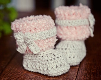 Crochet PATTERN for baby booties - Faux Fur Boots