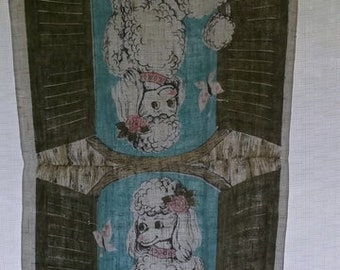 Vintage Dish Towel, Linen Towel with Poodles, Turquoise, Pink, and Basil Green