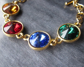 Mother's Birthstone Bracelet, Grandmother's Jewelry, Gold Crystal Personalized Mother's Bracelet, Mother's Jewelry