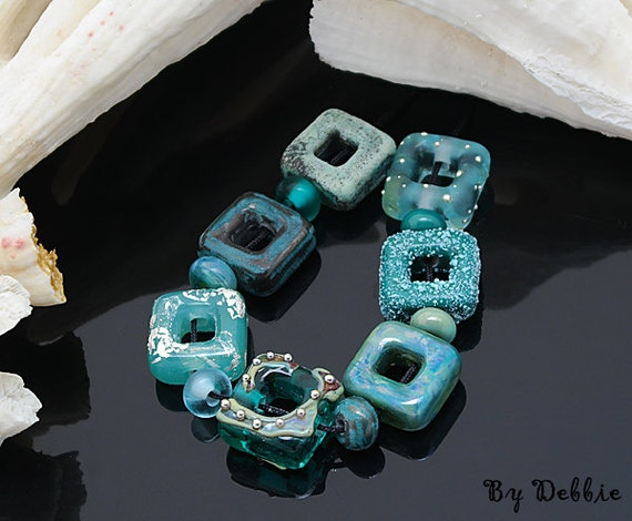 Handmade Lampwork Beads Square Glass Beads Lampwork Beads For Jewelry Beads For Bracelet Beaded Necklace Jewelry Supply Debbie Sanders