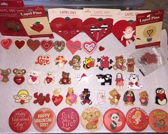 Vintage Hallmark Pins Lot of Valentine's Day Holiday Lapel Pins Brooches CHOICE