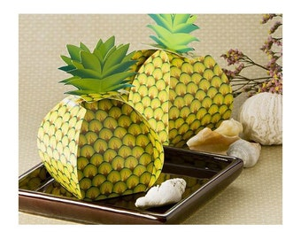 Large Pineapple Favor Boxes Pack of 24 Tropical Theme Party Treat Boxes