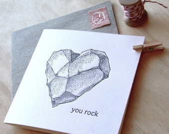 You rock, Valentine's Day, Male card, Father's Day, Mother's Day, card for geologist, You rock - all occasion, heart rock, black & white