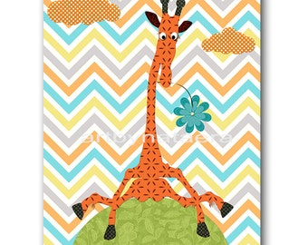 INSTANT Giraffe DOWNLOAD Print Baby Nursery Decor Nursery Digital Print Baby Boy Nursery Art Printable Art Digital Download Art 8x10 11X14