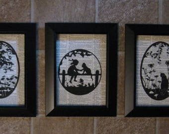 """Silhouettes of Cats on Vintage Dictionary Page Prints - Set of 3 - 5"""" x 7"""""""