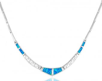 Blue Opal V-shaped Sterling Silver Necklace with Meander Pattern
