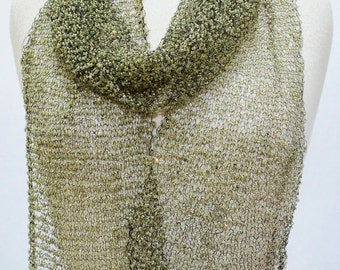 Glimmer Beaded Mesh Net Scarf Stole Wrap Shawl Olive Green