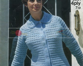 "Lady's Crochet Jacket 38-42"" 4ply Sirdar 5201 Vintage Crochet Pattern PDF instant download"