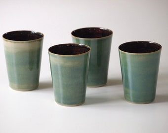 Stoneware Ceramic Cup green, brown. Tea Service, Coffee Cup Green. Handmade Stoneware Pottery