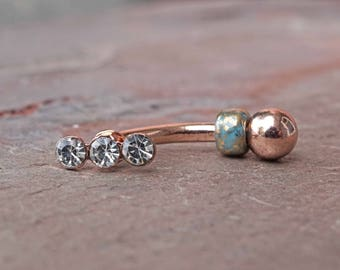 Crystal 14kt Rose Gold Rook Earring Daith Piercing Eyebrow Ring