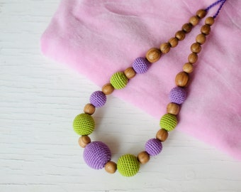 Purple & Green Nursing Necklace / Teething Necklace for mom to wear