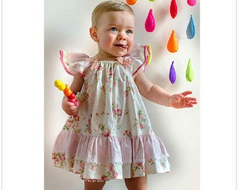 Baby and girl's dress sewing pattern, BUTTERFLY DRESS children's sewing pattern sizes 6-9 mths to 10 yrs.