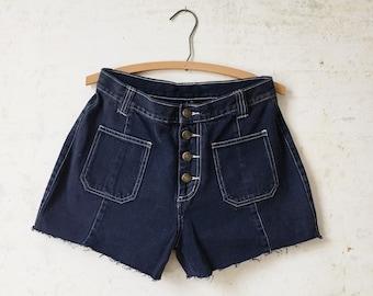 Vintage 70's Denim Sailor Style Jean Shorts Sz 28