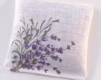 Lavender sachet on linen fabric, watercolor lavender flowers, gardening gift, stocking stuffer, green thumb, botanical gift