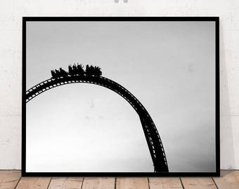 Roller Coaster print, Roller Coaster photography, black & white photo, Minimalist Art, Black and White Photography, Modern Art Wall Decor